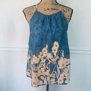 Jella Couture floral top blue size Small